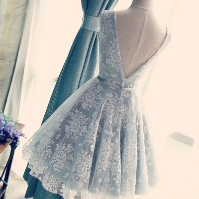 Blue Cocktail Dresses Short Lace Straps A Line Prom Dresses Party Dresses_3