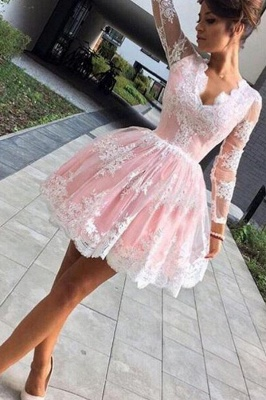 Pink Cocktail Dresses Prom Dresses With Sleeves A-Line Lace Evening Wear_4
