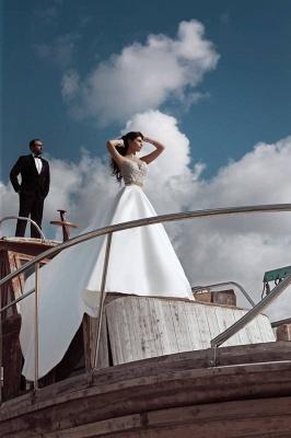 2020 Weiße Hochzeitskleider Mit Spitze A Linie Brautkleider Mit Schleppe_3