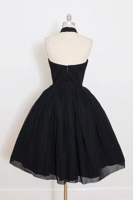 Black Cocktail Dresses Short Halter Chiffon Mini Prom Dresses Party Dresses_3