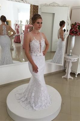 Weiß Brautkleider Spitze Meerjungfrau Lange Hochzeitsmoden Brautmoden Online_1