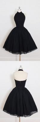 Black Cocktail Dresses Short Halter Chiffon Mini Prom Dresses Party Dresses_2