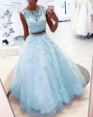 Elegant evening dresses blue long cheap lace evening wear 2 pieces online_1