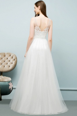 Simple a line wedding dresses white with straps floor length wedding gowns cheap online_2