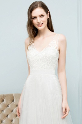Simple a line wedding dresses white with straps floor length wedding gowns cheap online_4