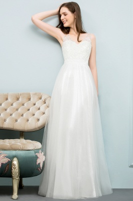 Simple a line wedding dresses white with straps floor length wedding gowns cheap online_3