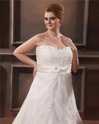 Ivory Wedding Dresses Plus Size Lace With Train Wedding Gowns Plus Size Cheap_5