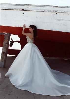 2020 Weiße Hochzeitskleider Mit Spitze A Linie Brautkleider Mit Schleppe_2