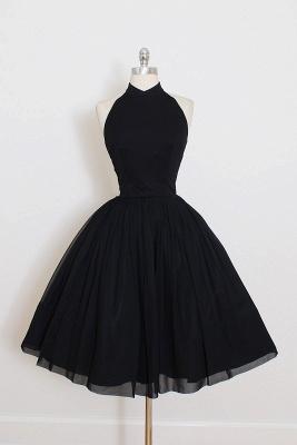 Black Cocktail Dresses Short Halter Chiffon Mini Prom Dresses Party Dresses_1