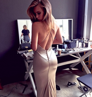 Simple Spaghetti Strap Cheap Long Prom Dresses Evening Gowns_3