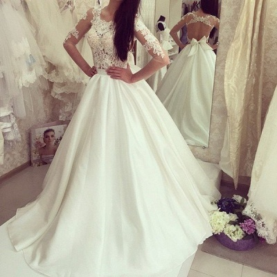White wedding dresses with sleeves lace a line wedding dresses bridal gowns cheap_3