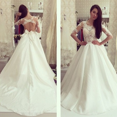 White wedding dresses with sleeves lace a line wedding dresses bridal gowns cheap_2