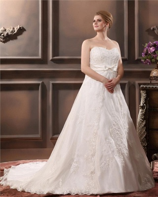Ivory Wedding Dresses Plus Size Lace With Train Wedding Gowns Plus Size Cheap_2