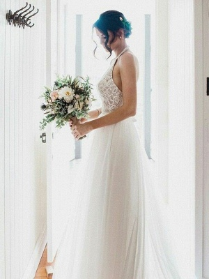 Modern White Wedding Dresses Tulle Sheath Dresses Cheap Wedding Dresses_1