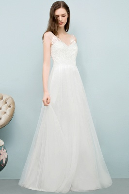 Simple a line wedding dresses white with straps floor length wedding gowns cheap online_5
