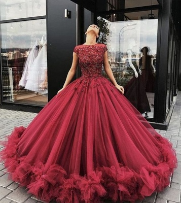 Luxury Wine Red Evening Dresses Long Cheap With Lace A Line Evening Wear Prom Dresses_2