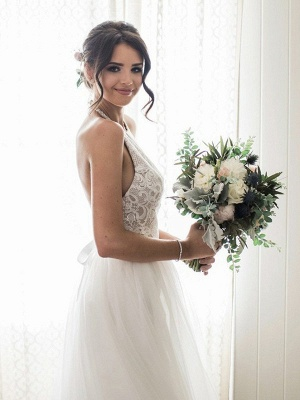 Modern White Wedding Dresses Tulle Sheath Dresses Cheap Wedding Dresses_2