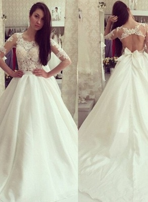White wedding dresses with sleeves lace a line wedding dresses bridal gowns cheap_1