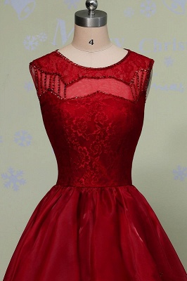 Red Lace Prom Dresses Long Short A Line Evening Wear Prom Dresses_3