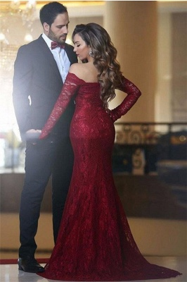 Red Evening Dresses Long Sleeves Lace Off Shoulder Mermaid Evening Wear_2