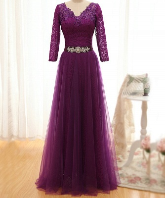 Fashion purple evening dresses with lace sleeves sheath dresses evening wear online_1