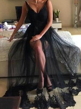New Black Evening Dresses Lace Sheath Dress Backless Prom Dresses Evening Wear Cheap_1