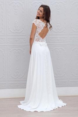 Modern Hochzeitskleider Weiß Spitze Chiffon Etuikleider Brautkleider Günstig_2