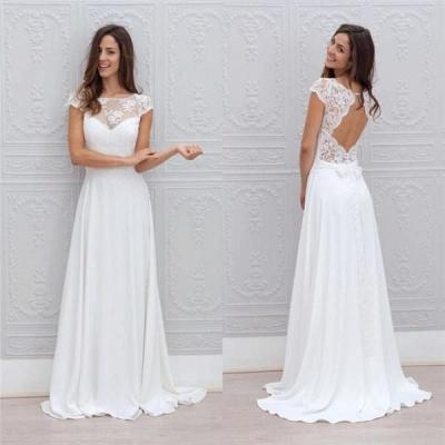 Modern Hochzeitskleider Weiß Spitze Chiffon Etuikleider Brautkleider Günstig_3