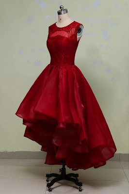 Red Lace Prom Dresses Long Short A Line Evening Wear Prom Dresses_4