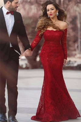 Red Evening Dresses Long Sleeves Lace Off Shoulder Mermaid Evening Wear_1