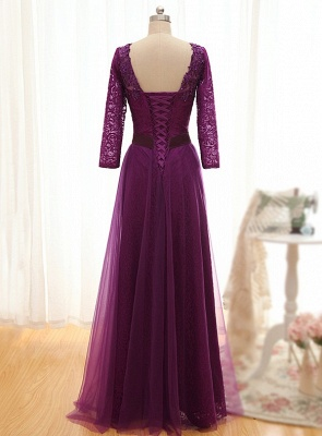 Fashion purple evening dresses with lace sleeves sheath dresses evening wear online_2