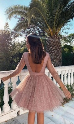 Designer cocktail dresses short pink | Ball gowns glitter with sleeves_2