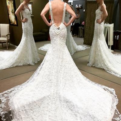 Schöne Weiß Brautkleider Spitze Meerjungfrau Rückenfrei Brautmoden Hochzeitskleider_2