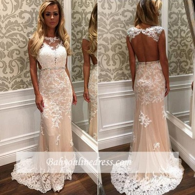 White prom dresses long with lace beaded shift dresses online cheap evening wear_1