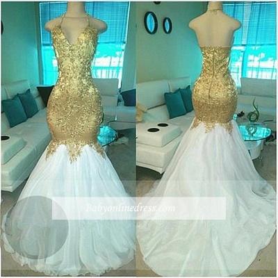 Goldene Weiße Abendkleider Lang Abschlussballkleider Perlen Meerjungfrau Abiballkleider_1