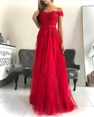 Red Evening Dresses Long Cheap | Elegant evening wear with lace_1