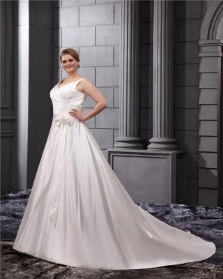 White Wedding Dresses Plus Size Straps A Line Satin Plus Size Wedding Dresses_5