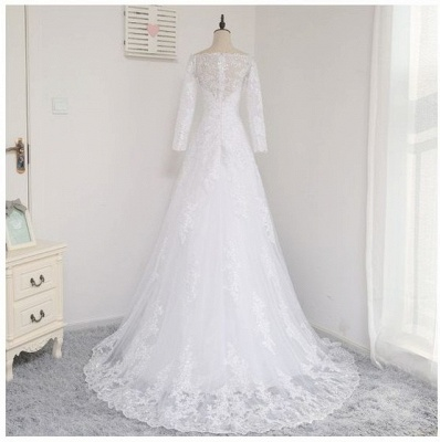 Wedding dresses with sleeves and lace | Wedding dress A line simple_3
