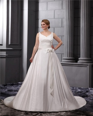 Weiß Brautkleider Große Größe Träger A Linie Satin Übergröße Hochzeitskleider_3