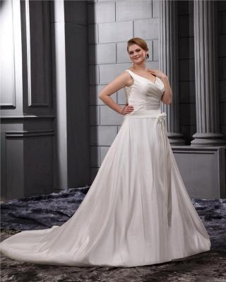 Weiß Brautkleider Große Größe Träger A Linie Satin Übergröße Hochzeitskleider_4