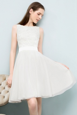 Elegante Weiße Hochzeitskleider Kurz Mit Spitze A Line Brautkleider Günstig Online_5