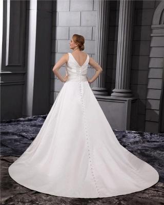 White Wedding Dresses Plus Size Straps A Line Satin Plus Size Wedding Dresses_2