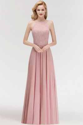 New Bridesmaid Dresses Long Pink With Lace Chiffon Bridesmaid Dresses_2