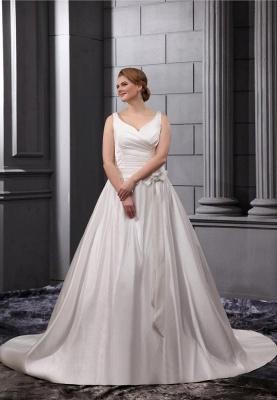 Weiß Brautkleider Große Größe Träger A Linie Satin Übergröße Hochzeitskleider_1