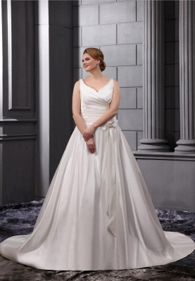 White Wedding Dresses Plus Size Straps A Line Satin Plus Size Wedding Dresses_1