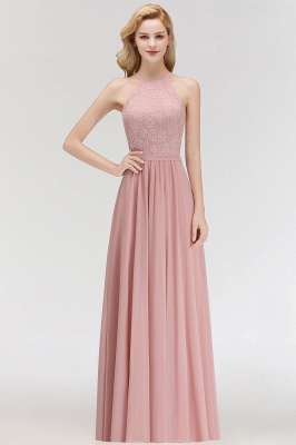 New Bridesmaid Dresses Long Pink With Lace Chiffon Bridesmaid Dresses_1