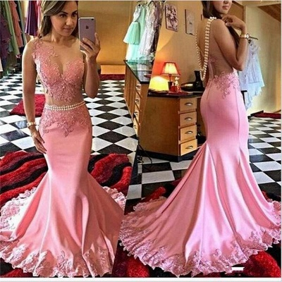 Pink Prom Dresses Long Cheap With Lace One Shoulder Evening Party Dresses Online_1