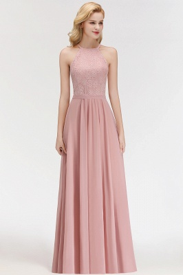 New Bridesmaid Dresses Long Pink With Lace Chiffon Bridesmaid Dresses_3