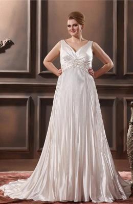 Weiß Brautkleider Große Größe Träger Etuikleider Übergröße Hochzeitskleider_1
