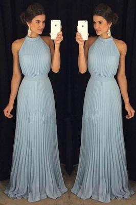 Sky Blue Long Chiffon Evening Dresses Sheath Dress Floor Length Evening Wear Online_1
